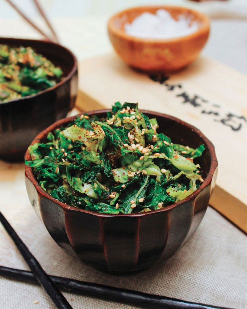 Shredded Brussels Sprouts & Kale with Miso-Dijon Sauce