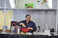 Chef Del demonstrating dessert recipes.