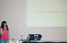 Christy presenting on how to get a fitter, happier you.