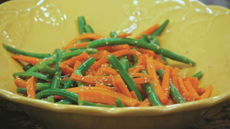 Steamed Green Beans and Carrots with Orange Sauce