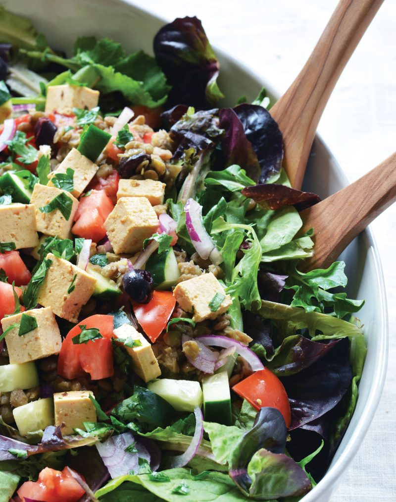 Mediterranean Lentil Salad with Tofu Feta